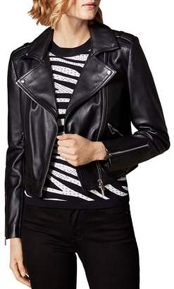 Karen Millen Cropped Leather Moto Jacket