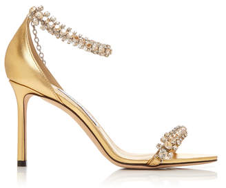 Jimmy Choo Shiloh Crystal-Embellished Metallic Leather Sandals Size: 3