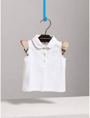 Burberry Flutter-sleeve Cotton Piqué Polo Shirt
