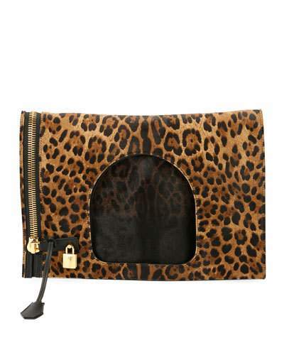 Tom Ford TOM FORD Alix Leopard-Print Padlock & Zip Fold-Over Bag
