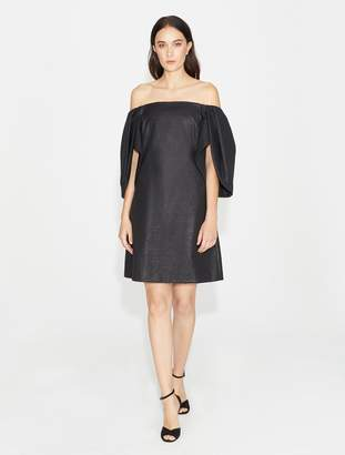 Halston Off Shoulder Metallic Jacquard Dress