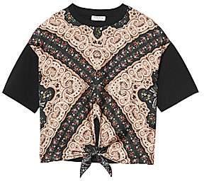 Sandro Women's Selki Paisley Print Tie T-Shirt