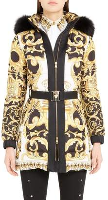 Versace Stamp Print Genuine Fox Fur Trim Quilted Coat