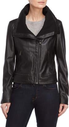 Bagatelle Studded Faux Leather Moto Jacket