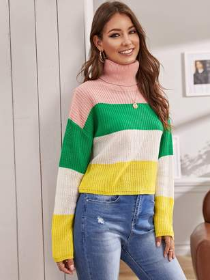Shein Turtle Neck Color-block Sweater