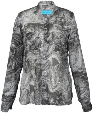 Arlette Ess 'Sleeping Dogs' Unisex Lightweight Cotton Shirt With Mandarin Collar