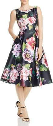 Adrianna Papell Mikado Floral Print Dress