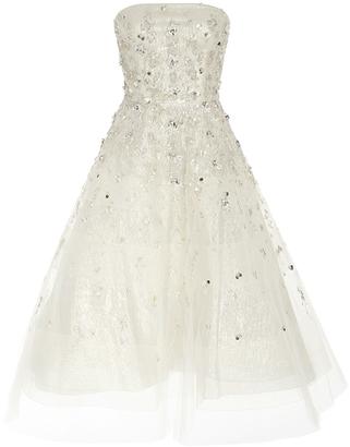 Oscar de la Renta Strapless Lam and Sequin Cocktail Dress $5,990 thestylecure.com