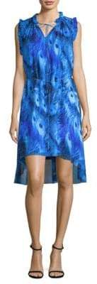 Elie Tahari Balere Silk Peacock Shift Dress