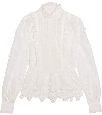 Anna Sui Anna Sui - Daisy Fields Silk-blend And Broderie Anglaise Cotton Blouse - White
