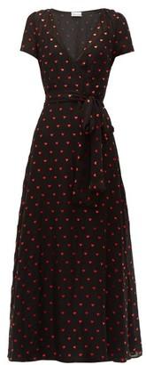 RED Valentino Heart Print Chiffon Dress - Womens - Black Multi
