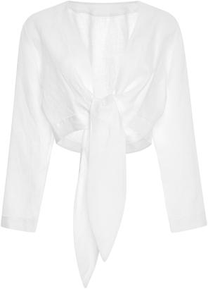 Lisa Marie Fernandez Tie-Front Cropped Linen Blouse $395 thestylecure.com
