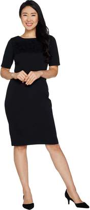 Joan Rivers Classics Collection Joan Rivers Petite Length Classic Little Black Dress w/ Lace Detail