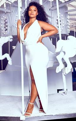 6b584e39c13cf PrettyLittleThing Plus White Extreme Cowl Maxi Dress