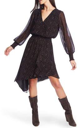 1 STATE 1.STATE Long Sleeve Asymmetrical Hem Chiffon Dress