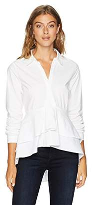 Nicole Miller New York Women's Long Sleeve High Low Blouse