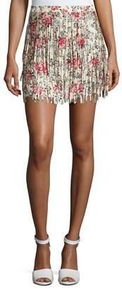 Zadig & Voltaire Jaliz Floral Silk Fringe Miniskirt, Multicolor $378 thestylecure.com