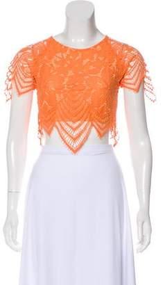 For Love & Lemons Lace Short Sleeve Crop Top