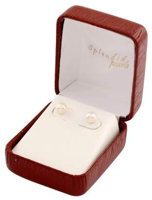 Splendid Pearls 6-7mm White Cultured Freshwater Pearl Bridesmaid Stud Pair Earrings