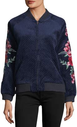 Goldie London Bagley Embroidered Velvet Bomber Jacket