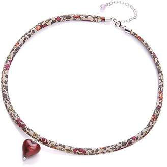 Glass Heart Amanti Venezia Liberty Ribbon and Sterling Silver Bracelet with Cobalt Murano of Length 18-21 cm