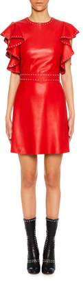 Alexander McQueen Studded Leather Ruffle-Sleeve Cocktail Dress