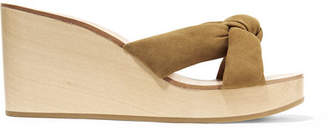Loeffler Randall Taylor Knotted Suede Wedge Sandals - Tan