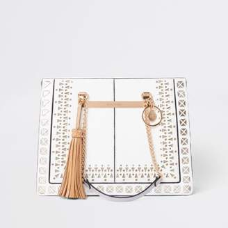 River Island Womens White lasercut chain handle tote bag