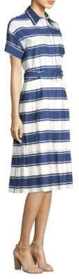 Piazza Sempione Women's Stripe Shirt Dress - Blue White - Size 44 (8)
