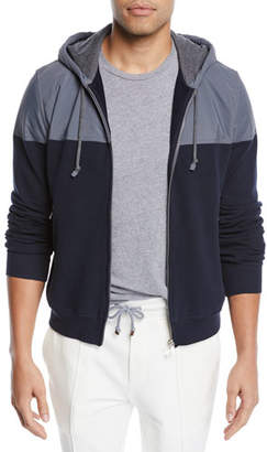 Brunello Cucinelli Men's Spa Colorblock Cotton-Stretch Hoodie Sweatshirt