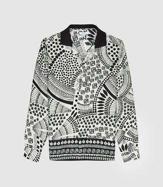 Hackney - Printed Cuban Collar Shirt in White/Black