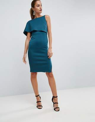 Asos Asymmetric One Shoulder Cape Bodycon Midi Dress