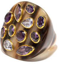 Ashley Pittman Mixed-Horn Flat Top Ring w/ Stones