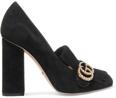 Gucci - Marmont Faux Pearl-embellished Fringed Suede Pumps - Black