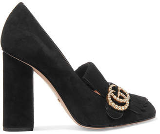 Gucci Marmont Fringed Logo And Faux Pearl-embellished Suede Pumps