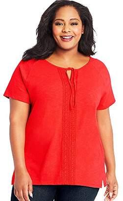 Just My Size Women's Plus Size Split Neck Lace Front Top