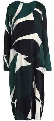 Marni Printed Satin-Twill Midi Dress