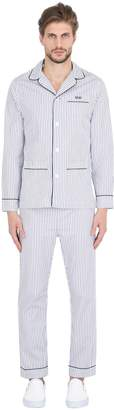 Slim Striped Cotton Pajama Shirt & Pants