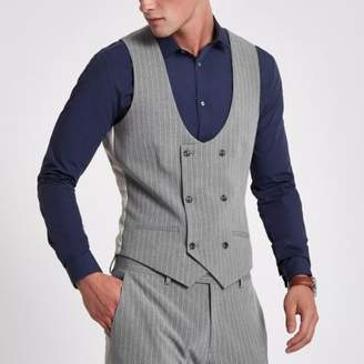 River Island Mens Grey stripe double breasted suit vest