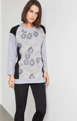 BCBGMAXAZRIA Embroidered Long Sweatshirt