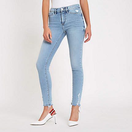 Womens Light Blue Molly mid rise jeggings