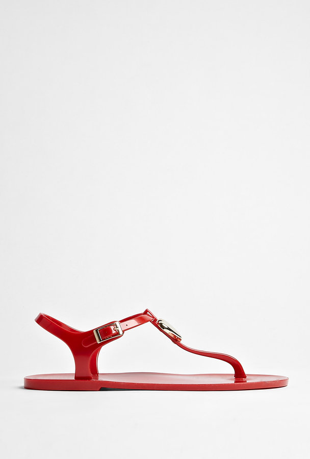 Love Moschino Red Plastic Thong Sandal With Gold Heart