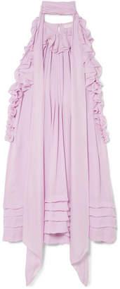 Chloé Ruffled Silk-charmeuse Mini Dress - Baby pink