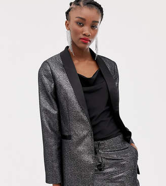 New Look satin tux blazer in silver