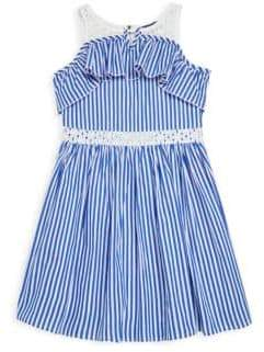 Truly Me Girl's Striped Cotton Fit-and-Flare Dress