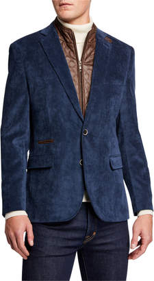 English Laundry Men's Micro Corduroy Sport Coat w/ Zip-Out Bib