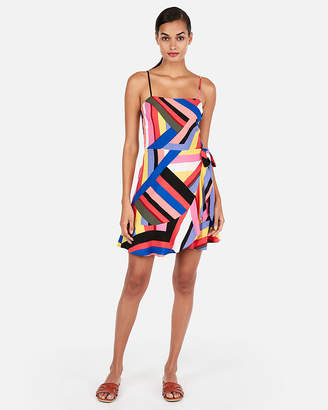 Express Stripe Square Neck Wrap Front Cami Dress
