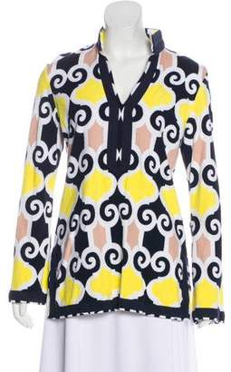 Tory Burch Abstract Print Long Sleeve Top