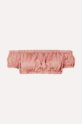 I.D. Sarrieri Cropped Off-the-shoulder Silk-satin Top - Antique rose