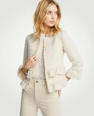 Ann Taylor Petite Ruffle Tweed Jacket